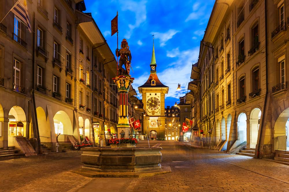 Zytglogge is a landmark medieval clock tower in Bern city in Switzerland