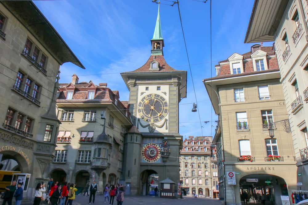 Bern, Switzerland - Astronomical clock on the medieval Zytglogge clock tower in Kramgasse street in old city center of Bern, Switzerland.