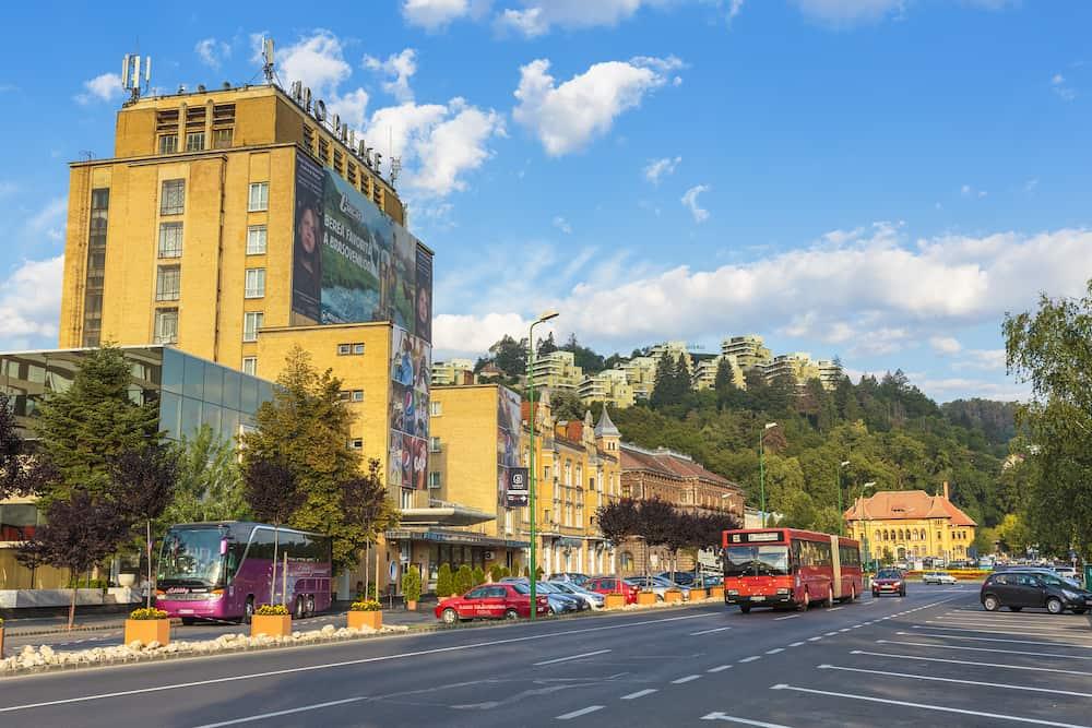 BRASOV ROMANIA - Brasov city view on the Heroes Boulevard (Bulevardul Eroilor) on July 24 2013 in Brasov Romania. Brasov is the 7th largest city and the most visited in Romania.