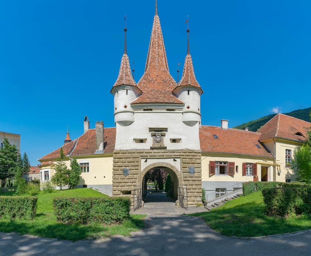 Catherine's Gate in Brasov on a sunny summer day in Brasov, Romania.