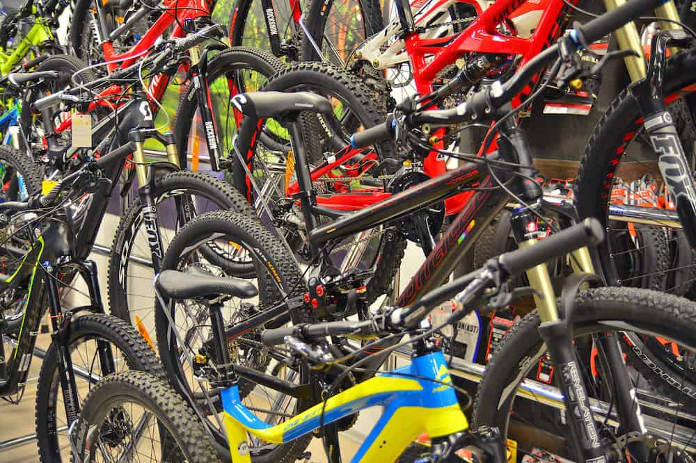 Brasov Romania - : New mountain bikes at a local cycling store.
