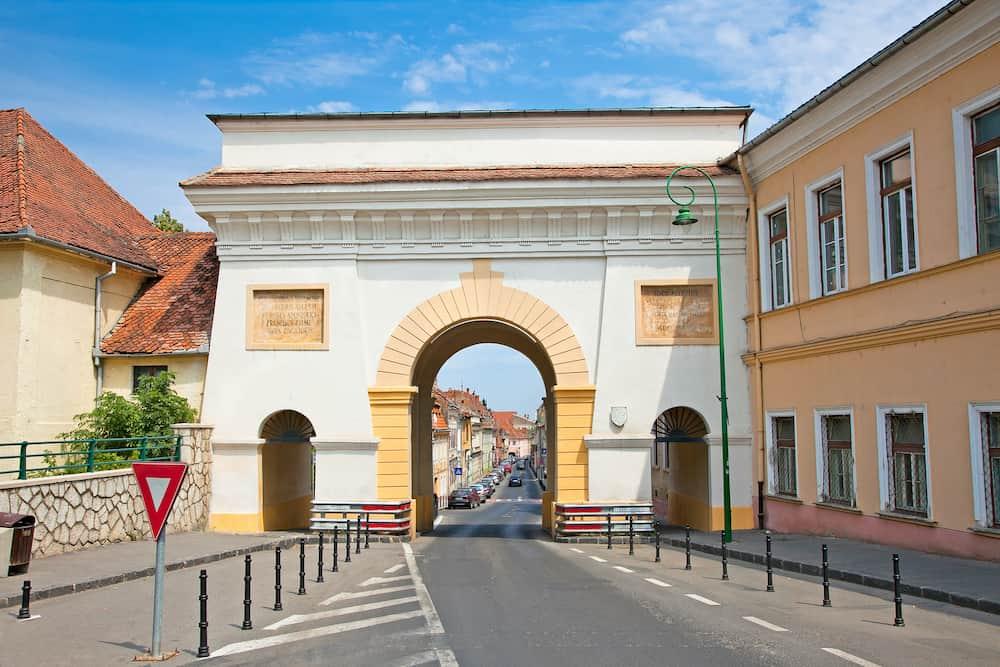 Schei gate in old city Brasov, Transylvania, Romania