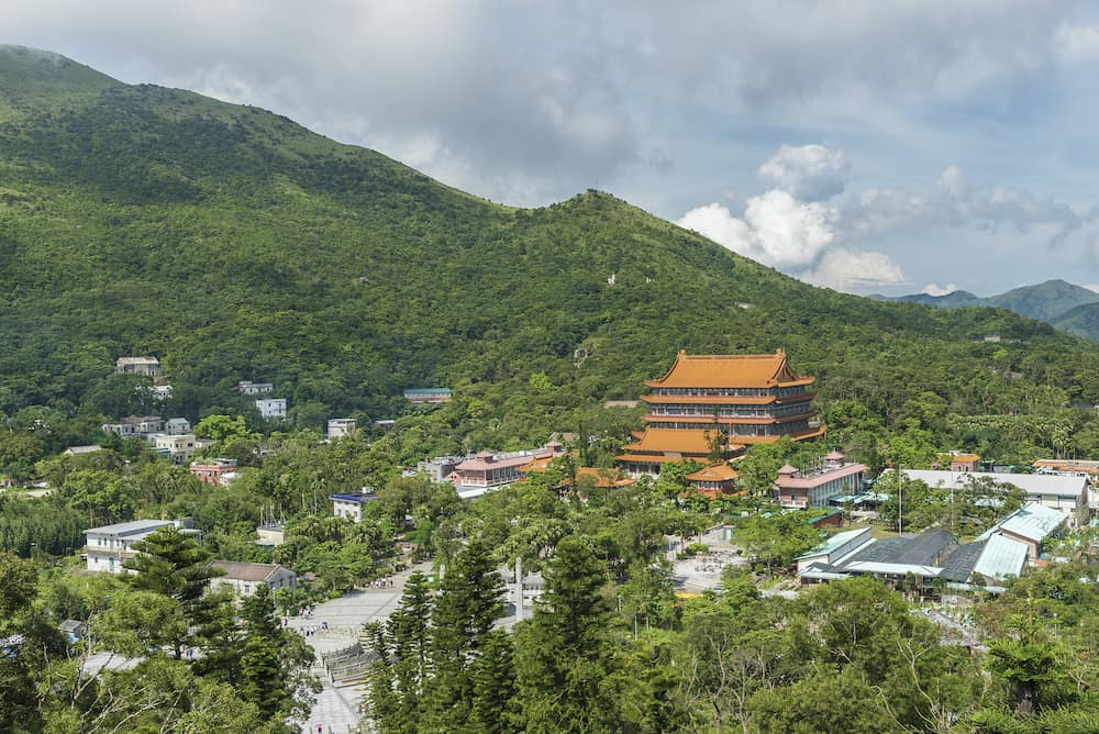 Chinese temple Po Lin Monastery in Lantau island, Hong Kong