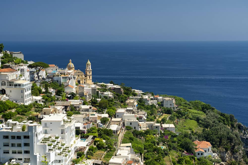 Costiera Amalfitana, Salerno, Campania, Southern Italy: the coast at summer (July): view of Praiano
