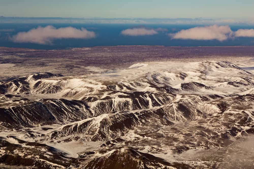 Beautiful aerial view snow covered mountain, winter landscape Iceland