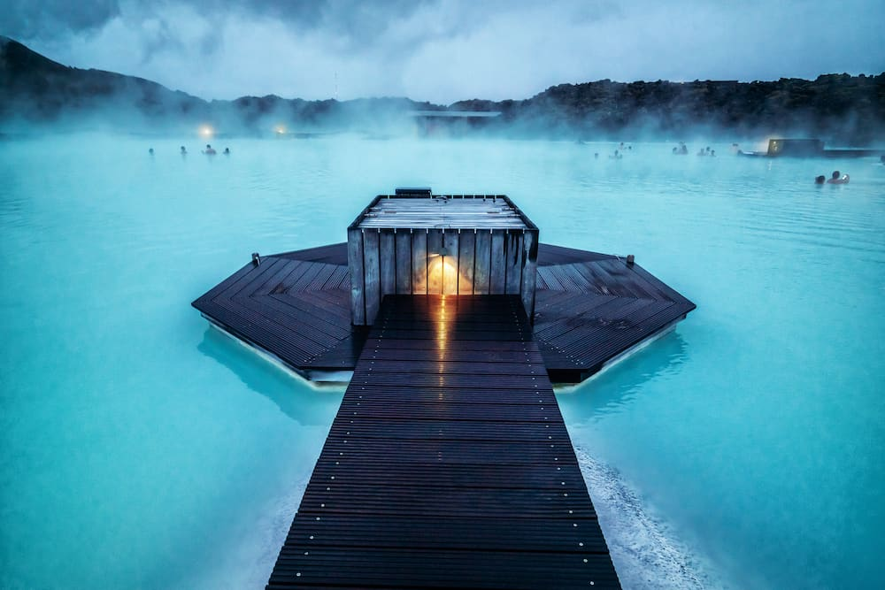 Reykjavik, Iceland - beautiful geothermal spa pool in the blue lagoon in Reykjavik. The Blue Lagoon geothermal spa is one of the most visited attractions in Iceland.