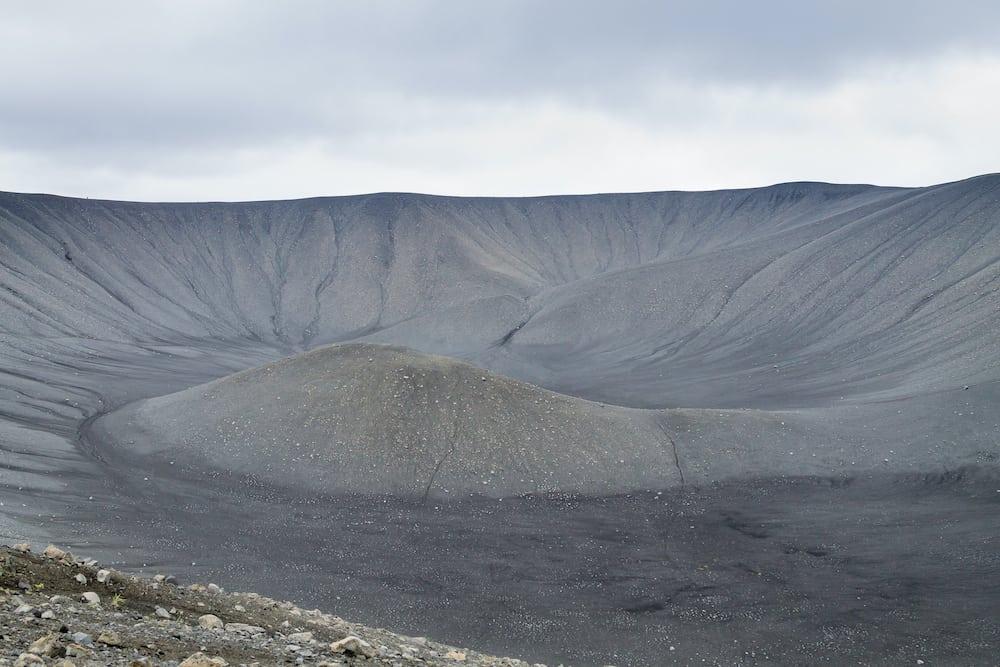 Top view of the Hverfell boiler volcano. Hverfjall, Iceland landmark