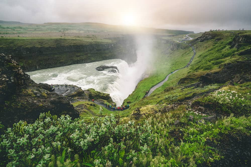 Landscape of the Gullfoss waterfall in Iceland. Gullfoss Waterfall is the powerful, famous waterfall that attracts tourists who visit the Island Golden Circle route.