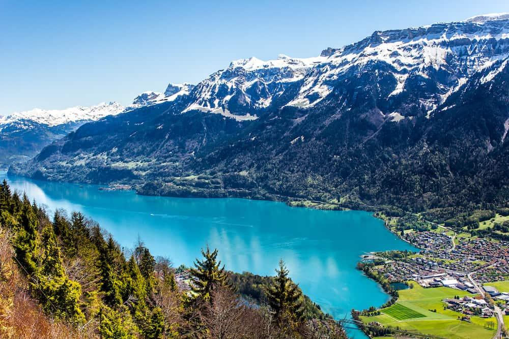 Lake Thun in Interlaken, Switzerland. A beautiful landscape in this city