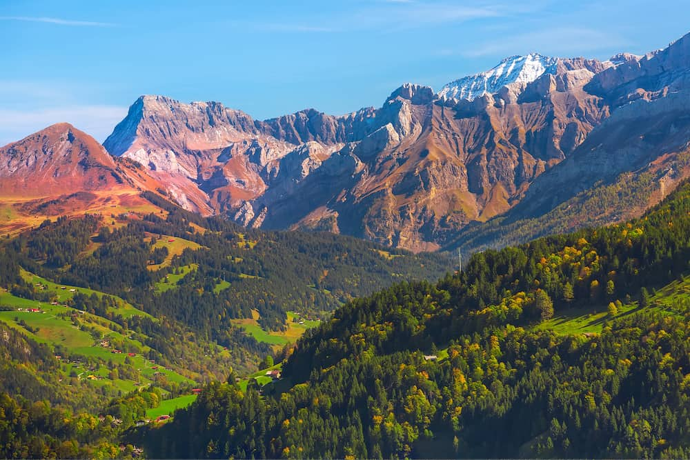 Switzerland, Jungfraujoch, Swiss Alps autumn landscape with colorful snow white and pink rocky mountains, green and yellow fall trees at sunset