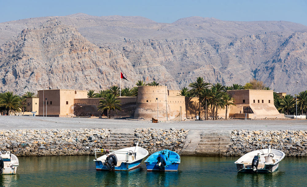 Khasab Fort in Musandam governorate of Oman surrounded by sandstone
