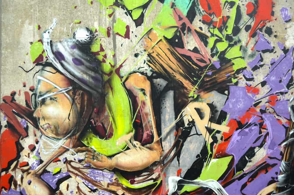 KIEV, UKRAINE - Colored background.Graffiti on a wall.