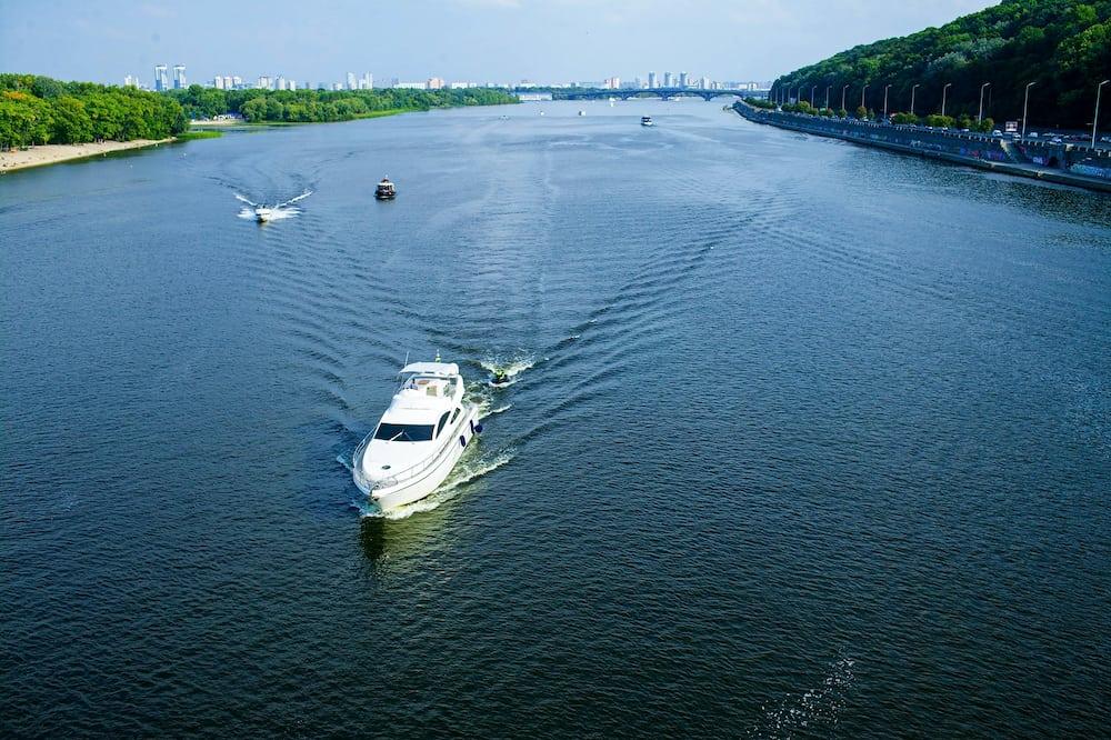 Cruise tourist ship on the Dnieper river, Kiev, Ukraine.