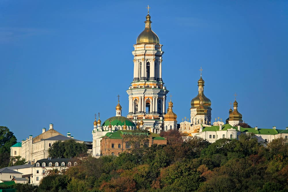 Distinguished Spiritual Center of Ukraine. Kiev Pechersk (Kyiv Pechersk) Lavra monastery and it's bell tower (Great Belfry). Historical and cultural reserve – UNESCO object. Shrine of Ukraine