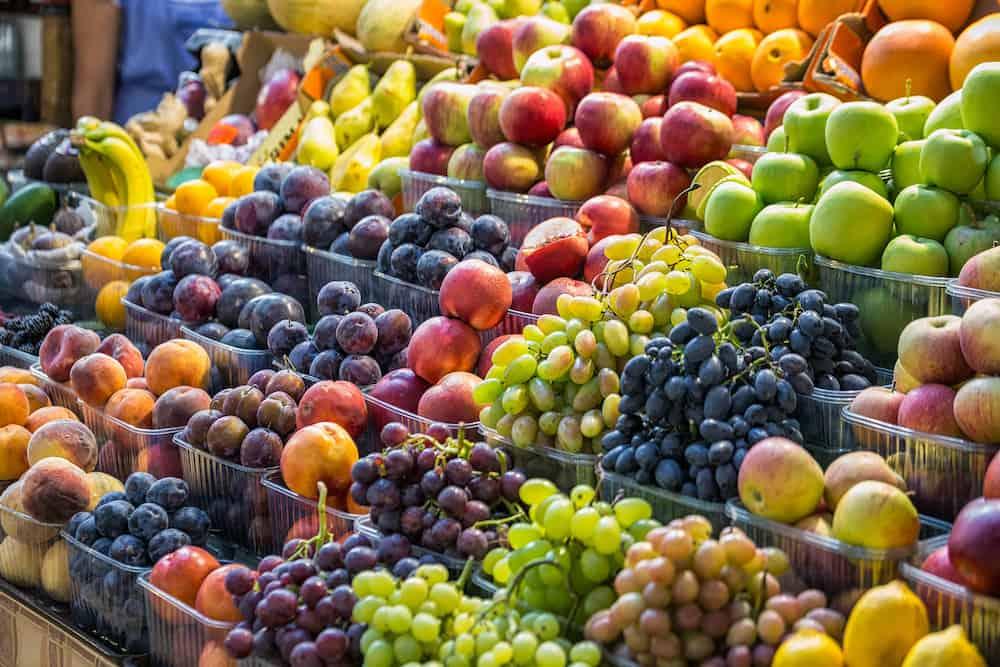 Fresh fruit assortment at Besarabsky Market Kiev, Ukraine.