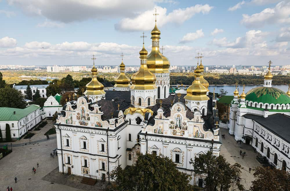 Kiev Pechersk Lavra. Cathedral of the Dormition. Kiev. Ukraine. Blue sky with clouds on a sunny day on the background