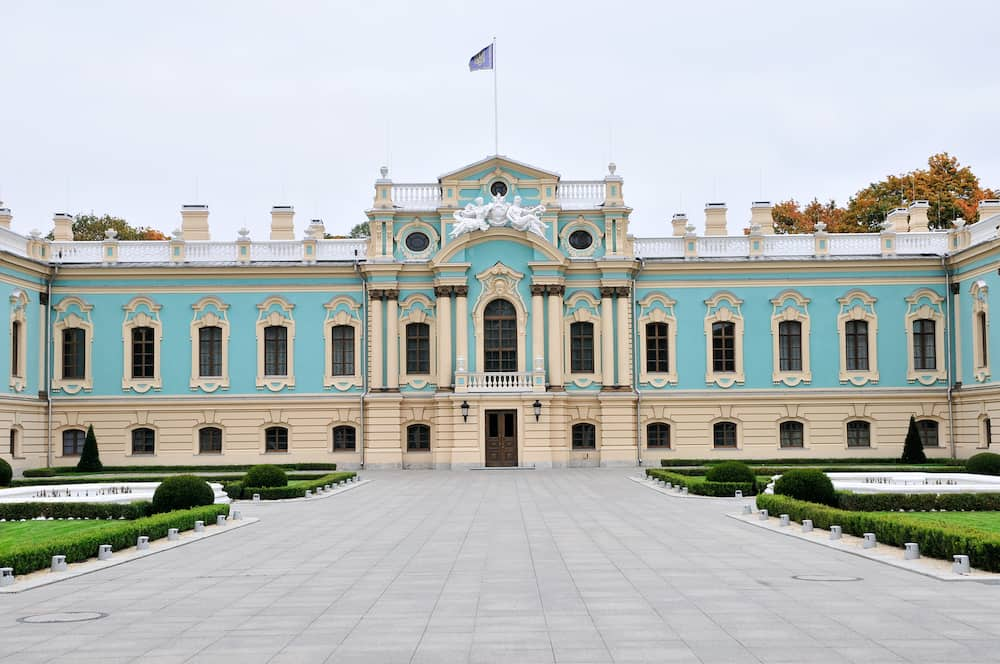 Kiev/ Ukraine - Mariyinsky Palace. It is a Baroque palace, designed by Bartolomeo Rastrelli, architect Ivan Michurin, construction completed in 1752.