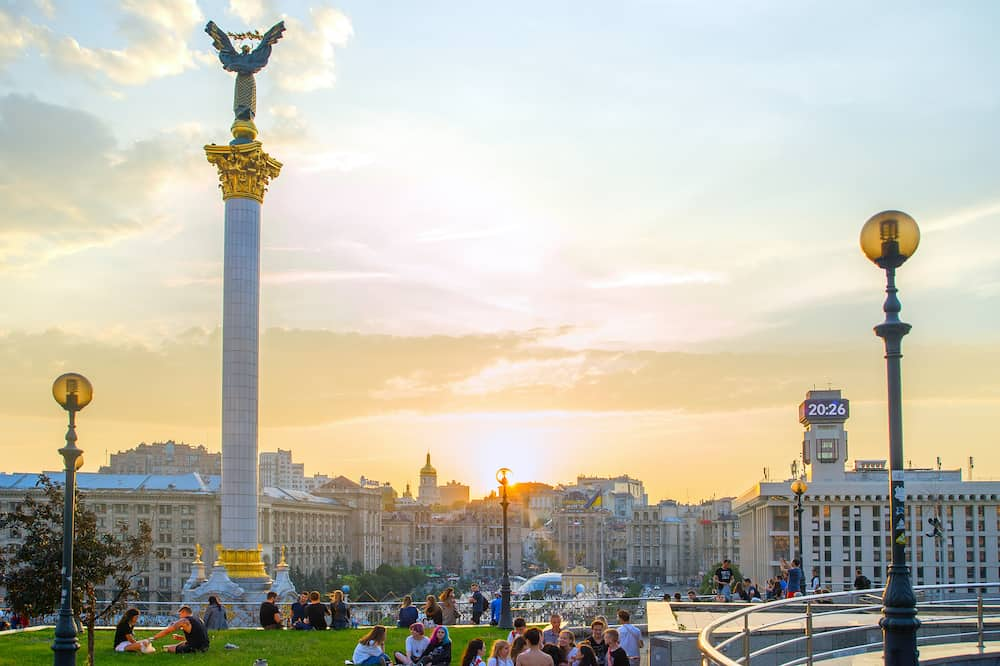 KIEV, UKRAINE - Skyline of Independence square (Maidan Nezalezhnosti) - is the main square of Kiev. Kiev capital of Ukraine
