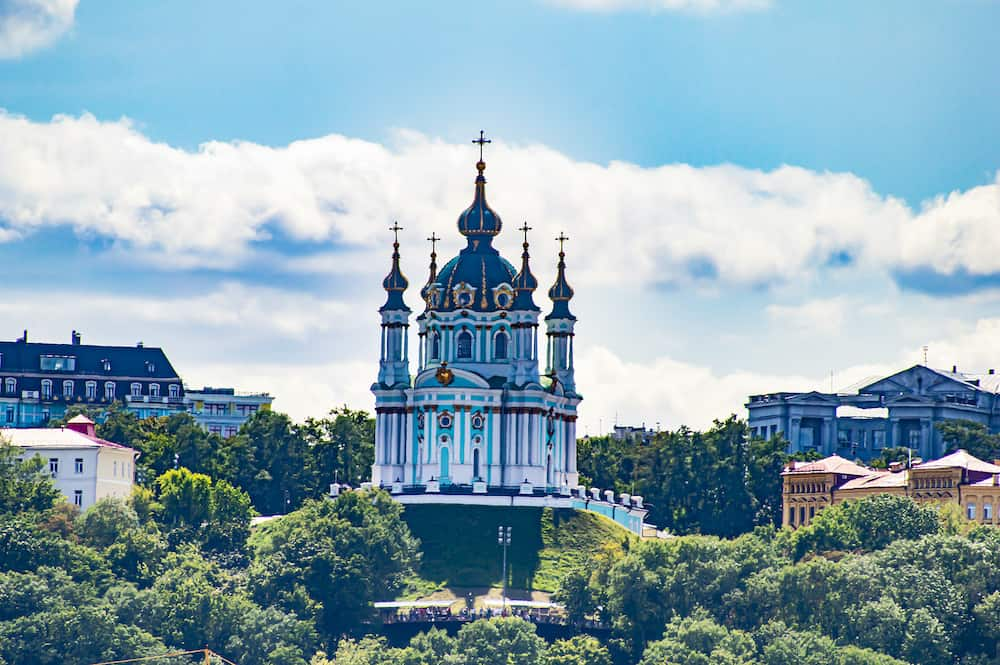 St. Andrew's Orthodox Ukrainian Church on the hills of Kiev under the clouds. Background image.