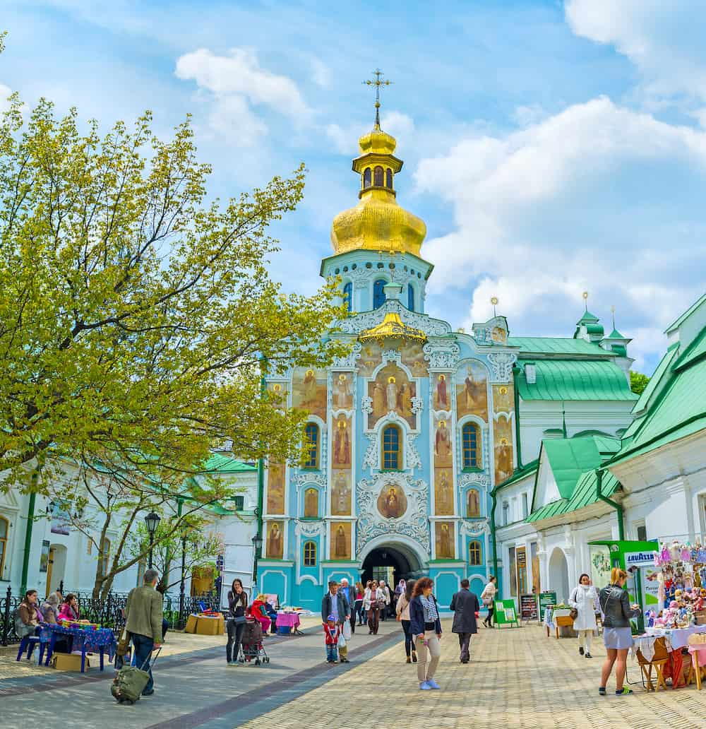 KIEV UKRAINE - The Gate Church of the Trinity with external icons is one of the most beautiful in Kiev Pechersk Lavra complex in Kiev.