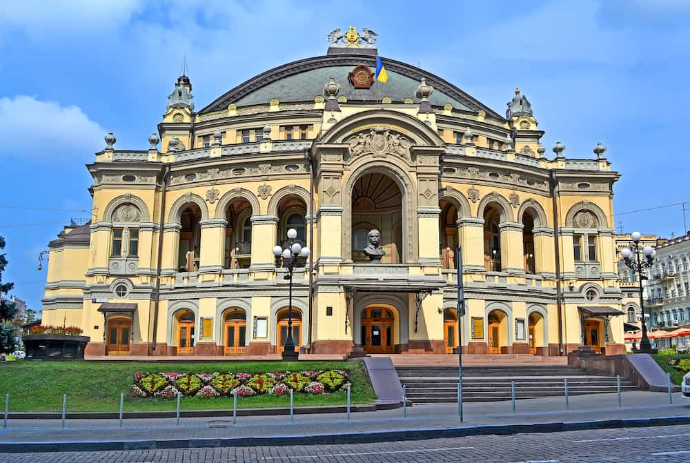 KIEV, UKRAINE - The National Opera of Ukraine aka Ukrainian National Opera House on July 27, 2013 in Kiev, Ukraine. It was found in 1867 and reopened in September, 1901.