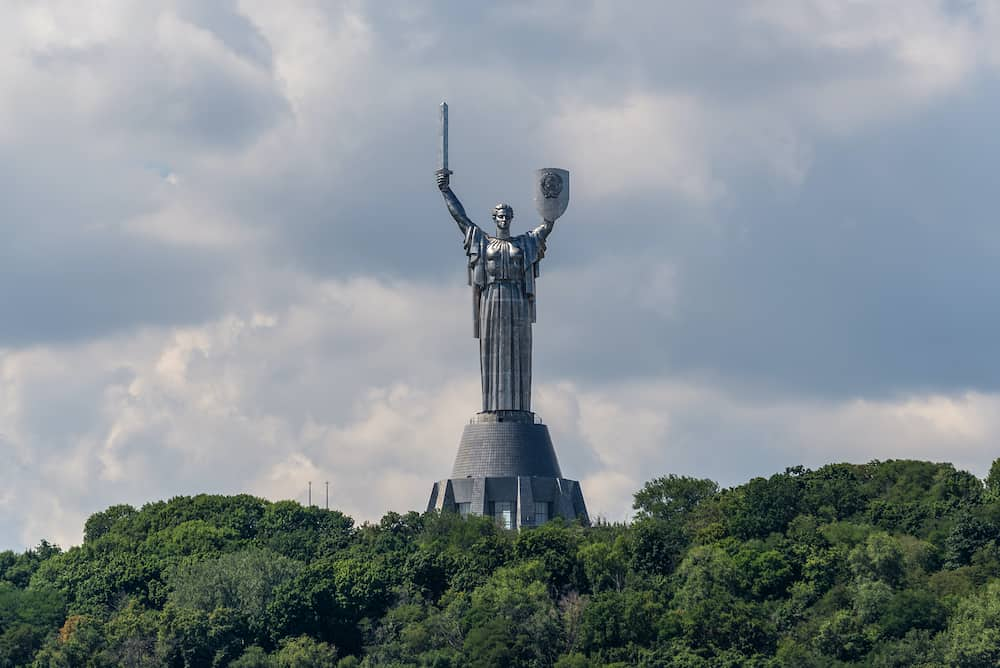 Kyiv, Ukraine - View of the Motherland monument. Symbol of Kyiv (Kiev). The National Museum of the History of Ukraine in the Second World War.