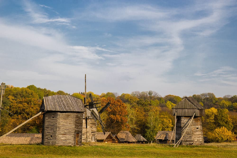 wind mills of National Museum of Folk Architecture and Life of Ukraine
