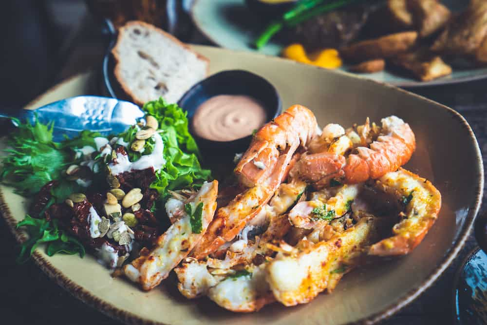 Langoustines - Icelandic cuisine made from lobster. Iceland national food.