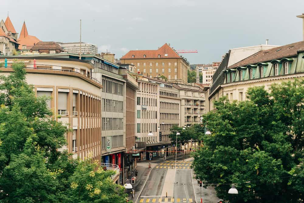 Lausanne, Switzerland- Downtown Lausanne, Place Centrale