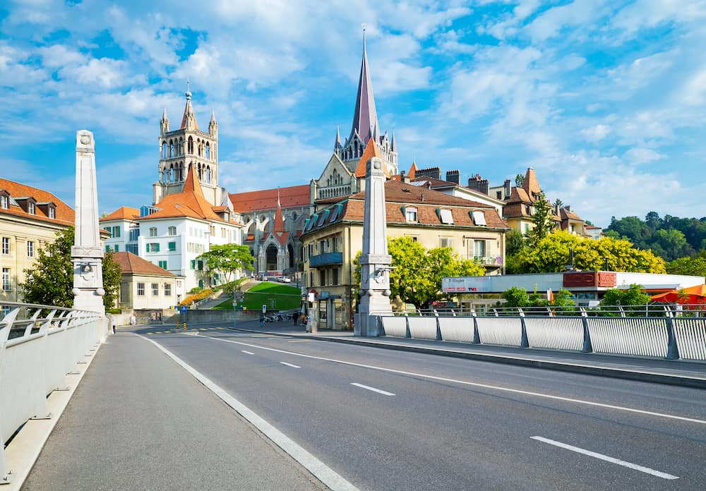 Lausanne, Switzerland - : The Cathedral hill seen from the Bessieres bridge