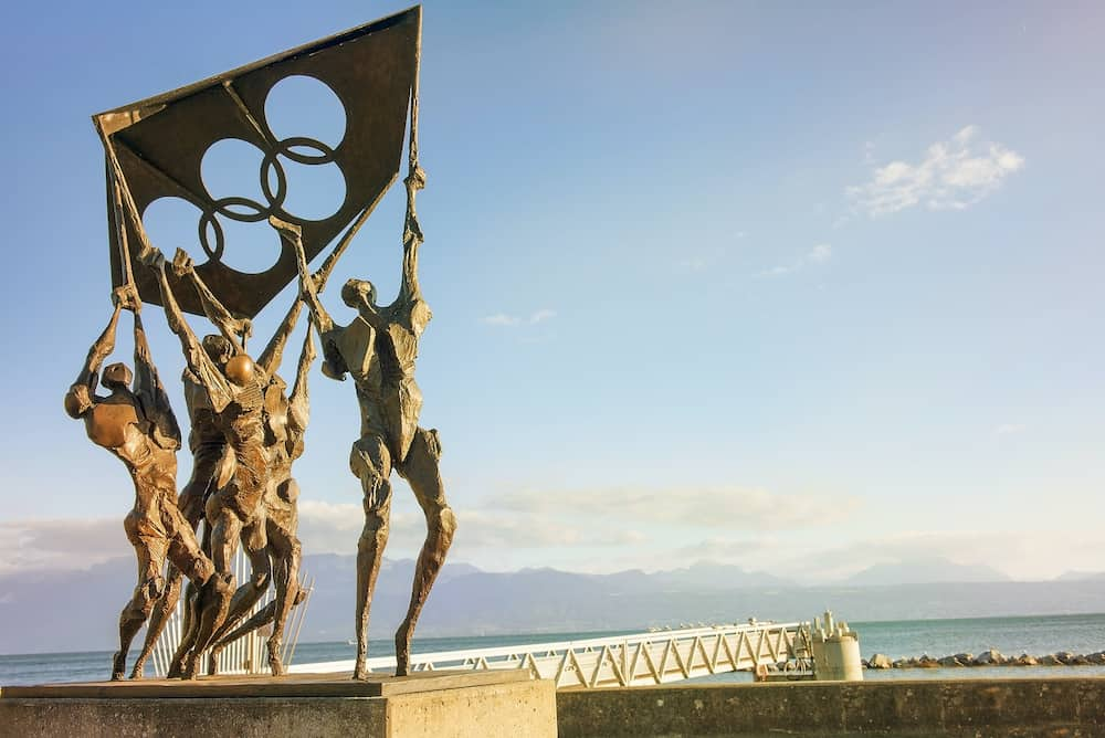 Lausanne, Switzerland - modern sculpture in front of the Olympic museum, on the shore of Lake Leman in Lausanne, Switzerland