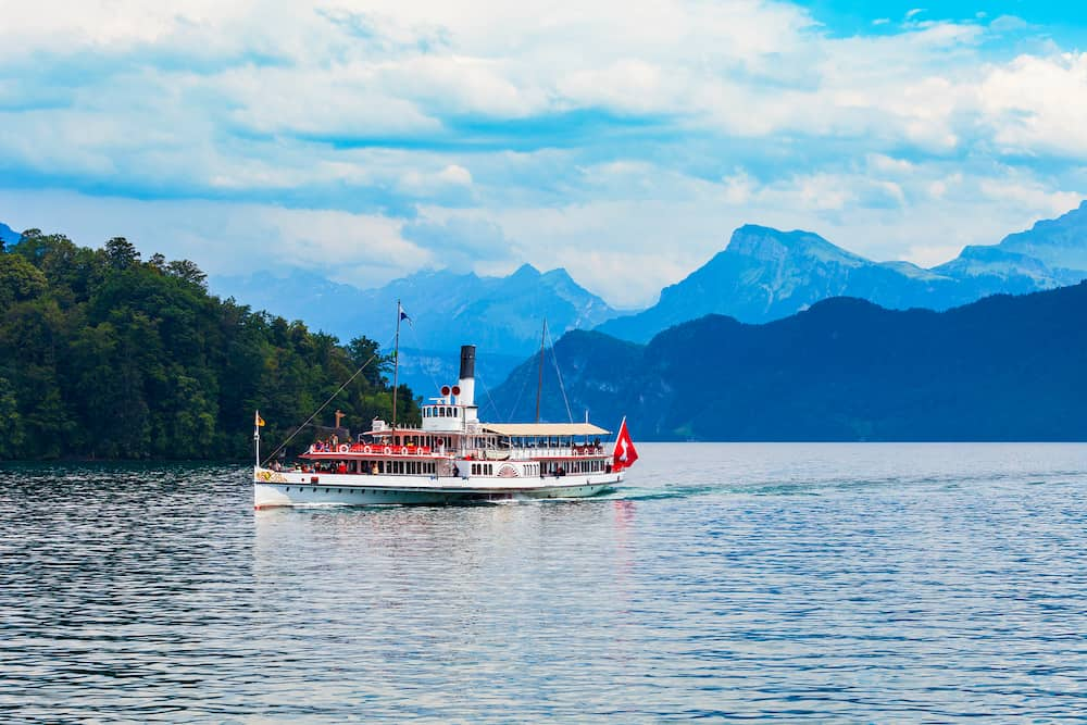 Tourist cruise boat on Lucerne Lake near Lucerne or Luzern city in central Switzerland