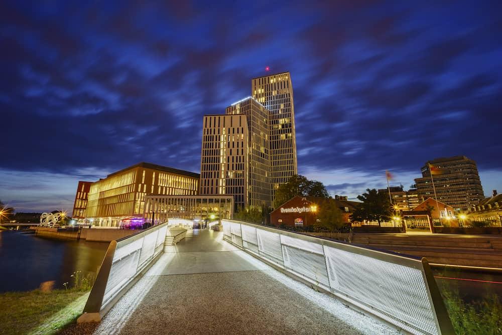 Beautiful hotel with bridge of Malmo Sweden