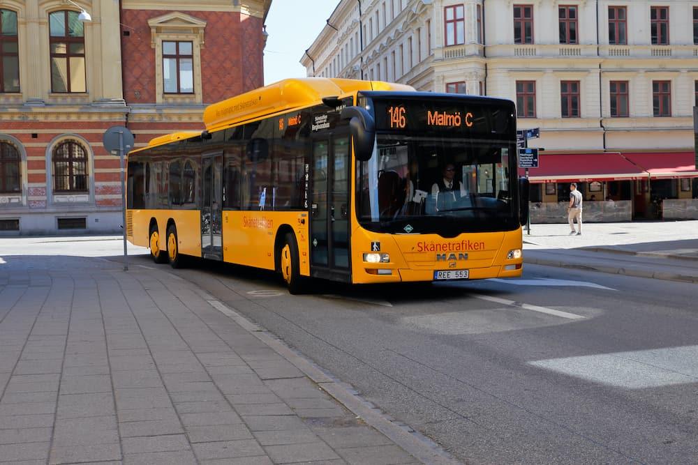 Malmo, Sweden - Yellow public transportation bus in service for Skanetrafiken on line 146.