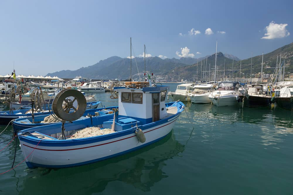 Salerno, Italy - Mooring for yachts and boats in the port of Salerno in Italy
