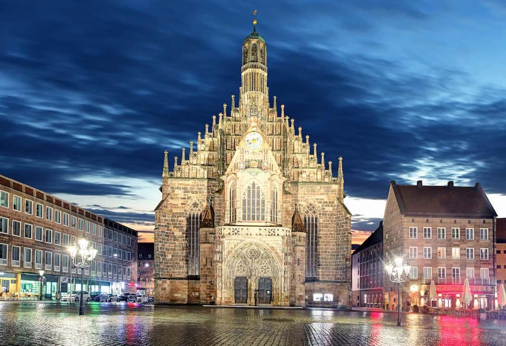 Nuremberg Hauptmarkt - cathedral Bavaria in a Germany
