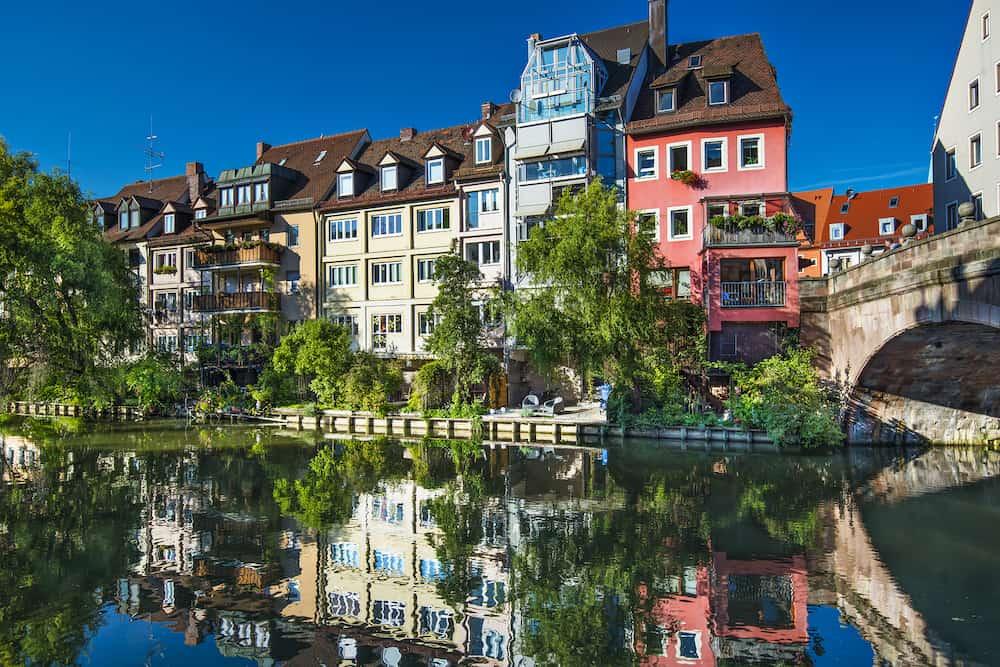 Nuremberg, Germany ont the historic Pegnitz River.