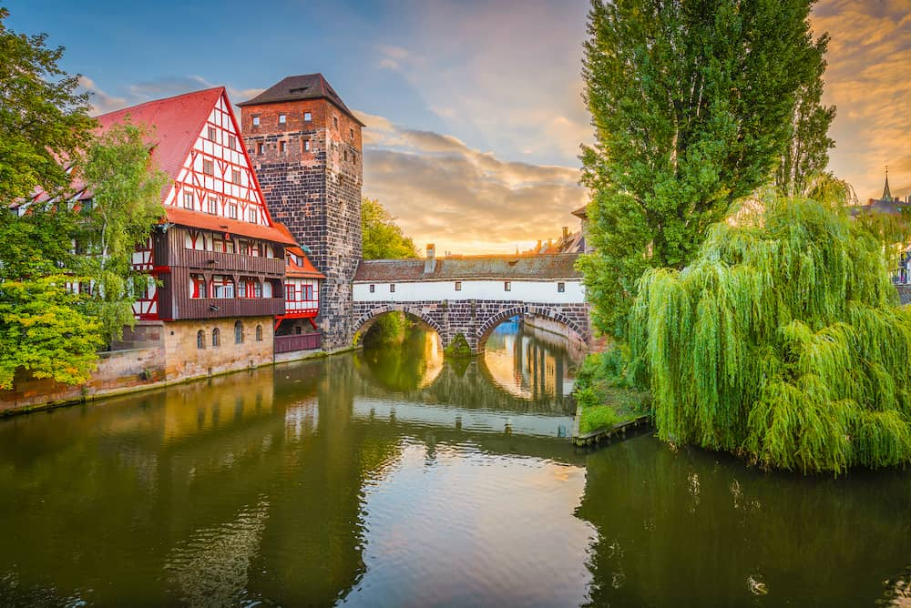 Nuremburg, Germany at Hangman's Bridge on the Pegnitz River.