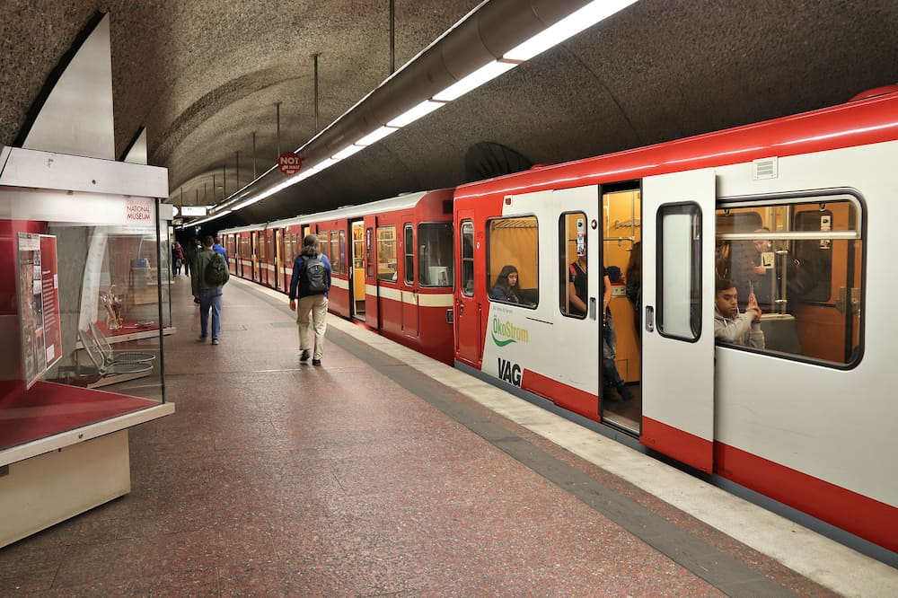 NUREMBERG, GERMANY : People ride subway train (U-Bahn) by VAG in Nuremberg, Germany. Nuremberg is located in Middle Franconia. 511,628 people live here.