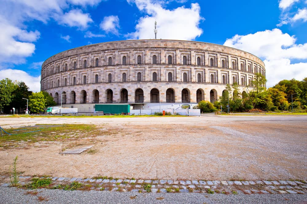 Reich Kongresshalle (congress hall) and the documentation center on former Nazi party rally grounds in Nuremberg, Bavaria region of Germany