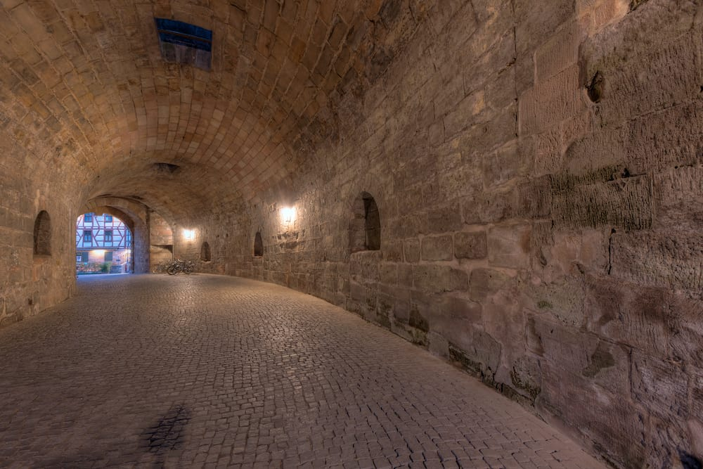 This tunnel is the amazing entrance to Nuremberg's old town through the thick city walls that originally protected the city.