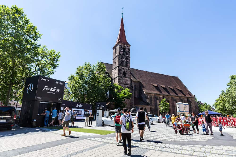 NUREMBERG GERMANY : View of St. Jakob Church in the old town part of Nuremberg on June 23 2016. It is the second-largest city in Bavaria (after Munich) and the largest in Franconia.