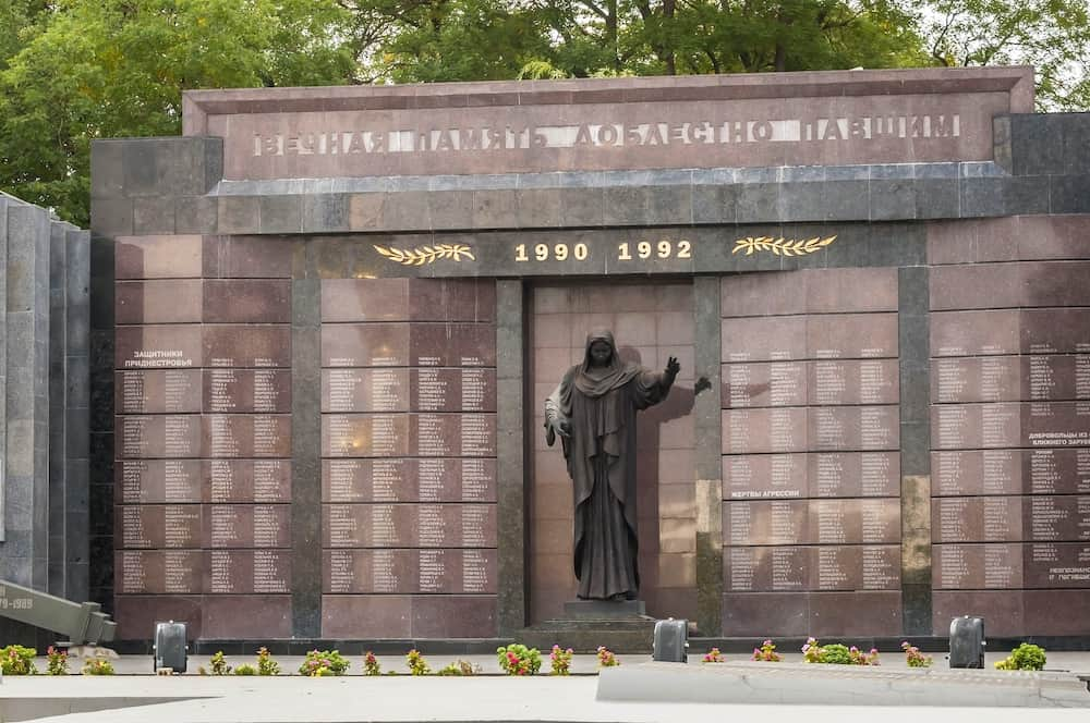 TIRASPOL, TRANSNISTRIA, MOLDOVA.. A monument to the fallen during the civil war between Transnistria and Moldova in 1990-1992.