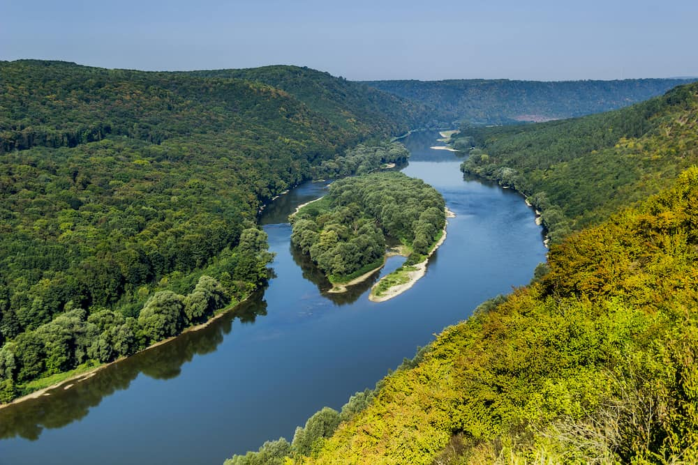 Aerial view of islands Yin and Yang in Dnister river, National Nature Park Dniester Canyon, Ternopil region of Western Ukraine