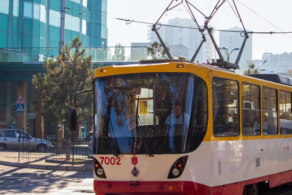 Ukraine, Odessa - - City tram number 5 plying in the resort area by the sea