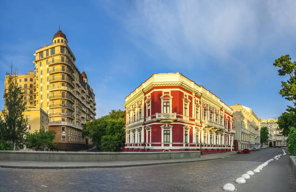 . Sunny summer morning in the historical center of Odessa, Ukraine. Catherine Square and Hotel Paris