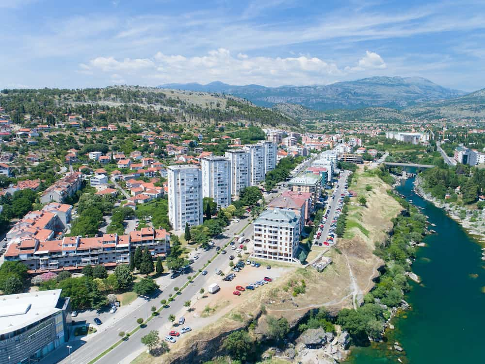 aerial view of the residential part of the capital city on sunny summer day, Montenegro
