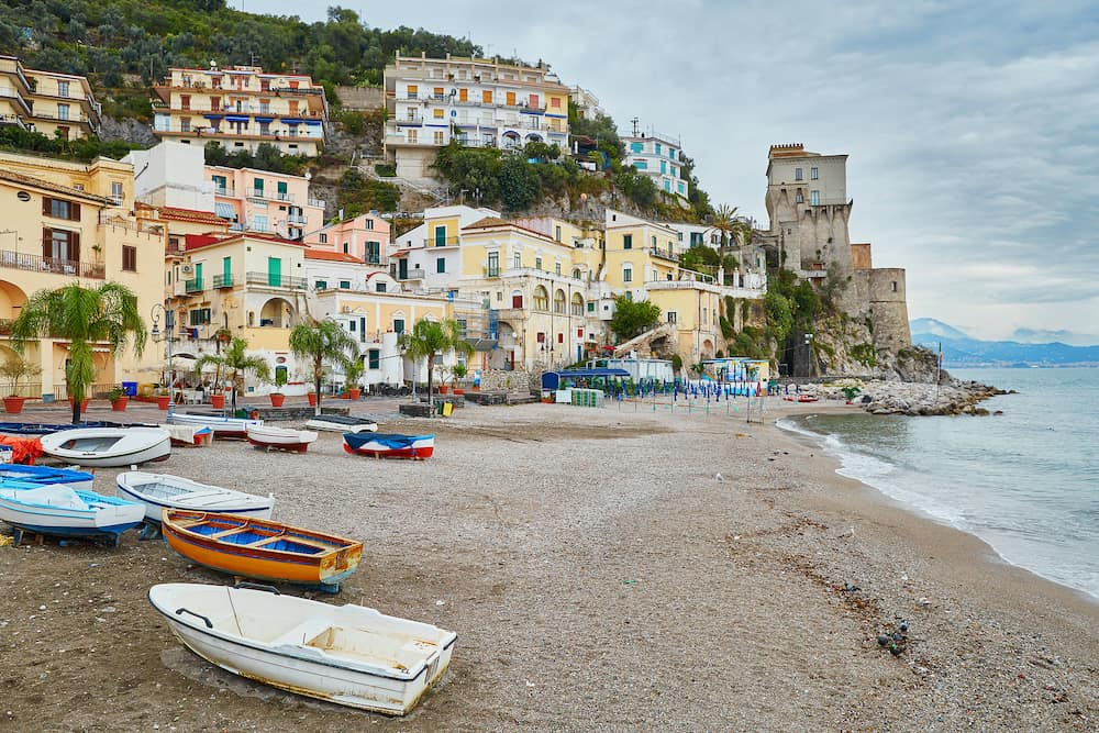 Scenic view of Cetara beautiful Mediterranean village on Amalfi Coast (Costiera Amalfitana) in Campania Italy