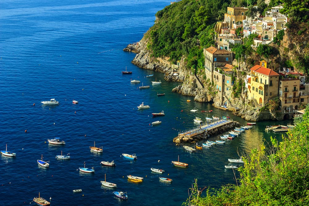 Stunning rocky bay and famous resort near Amalfi, Conca dei Marini, Italy, Europe