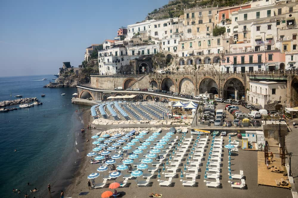 Amalfi Coast, Italy - View of beach in Maiori, Amalfi coast, Italy